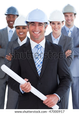 Close-up of multi-ethnic architect team against a white background - stock photo