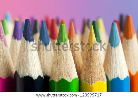 Close-up of multicolored crayon tips