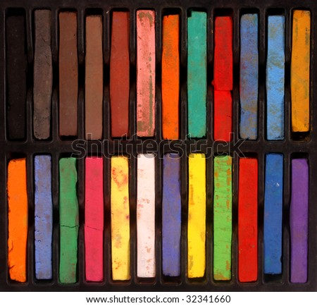 Close up of multicolored  pastels - stock photo