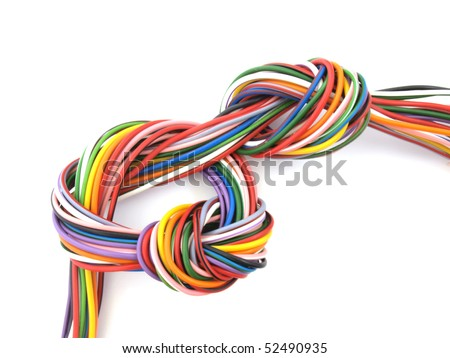 Close up of multicolored six amp electrical wire - stock photo
