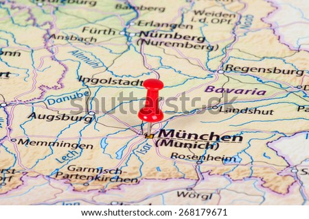 Munich germany point map stock images royalty free images close up of munich map with red pin travel concept gumiabroncs Image collections
