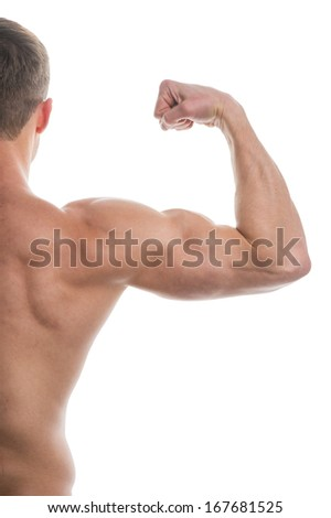 Close up of muscular arm lifting.  Cut of half body back view isolated over white background
