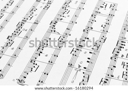 Close up of music sheets for pedal harp - stock photo
