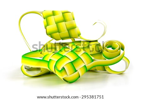 Close up of muslim ketupat (rice dumpling) isolated on white background, selective focus.  - stock photo