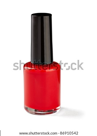 close up of nail polish flow on white background with clipping path