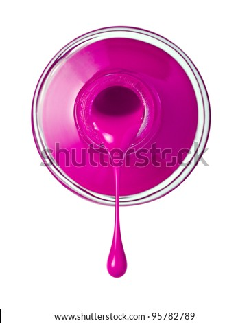 close up of nail polish flow on white background with clipping path - stock photo