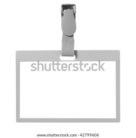 close up of name tag identity on white background with clipping path