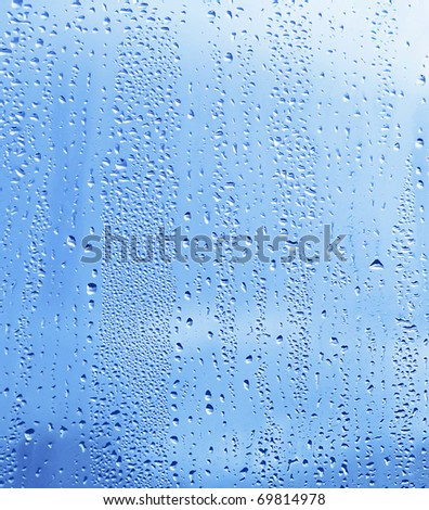 close up of natural water drop on glass