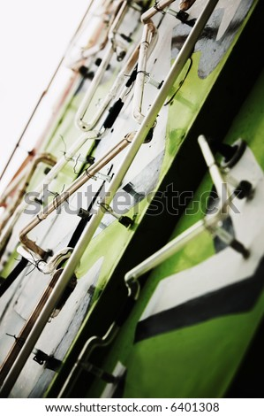 Close up of neon tubes on a vintage sign. - stock photo