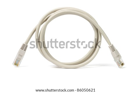 Close up of network cable and plugs on white background - stock photo