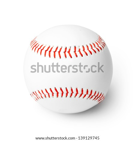 Close-up of new baseball isolated on a white background. Clipping path included - stock photo