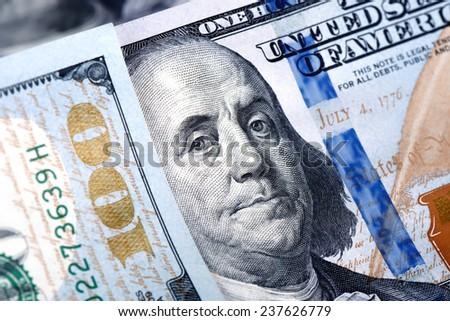 Close up of new hundred dollar bill. - stock photo