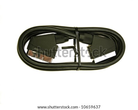 close-up of new scart cable against white background - stock photo