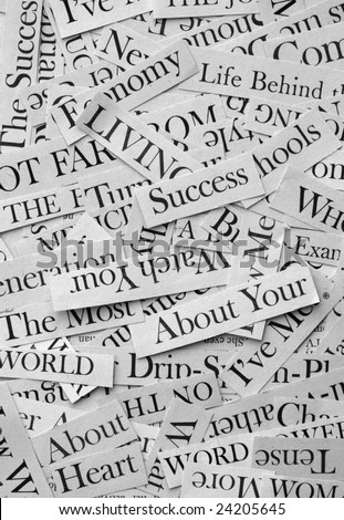 Close up of newspaper headlines - stock photo