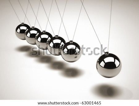 Close up of Newton's cradle - 3d render - stock photo
