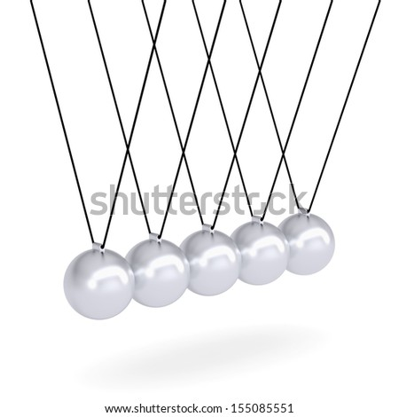 Close up of Newton's cradle. Isolated render on white background