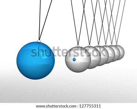 Close up of Newton's cradle - this is 3d render illustration - stock photo