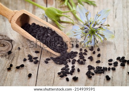 Close-up of nigella sativa seeds on wooden spoon and nigella flower on wooden table. Aromatic black cumin seeds. - stock photo