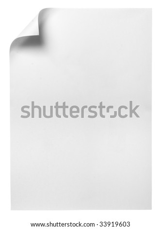 close up of note paper with curl on white background with clipping path - stock photo
