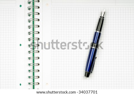 close up of notebook and pencil on white background with clipping path - stock photo