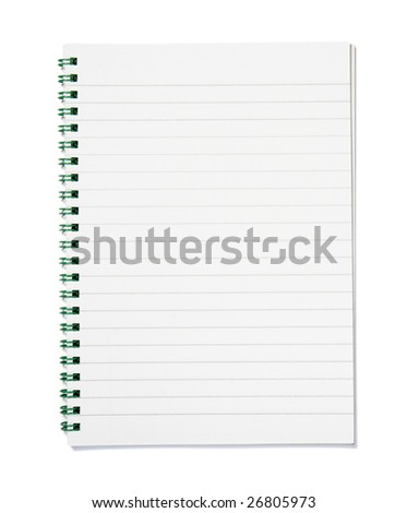 close up of notebook on white background with clipping path - stock photo