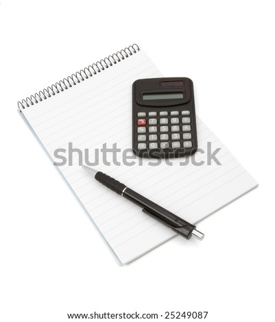 close up of notebook, pencil and calculator on white background with clipping path - stock photo
