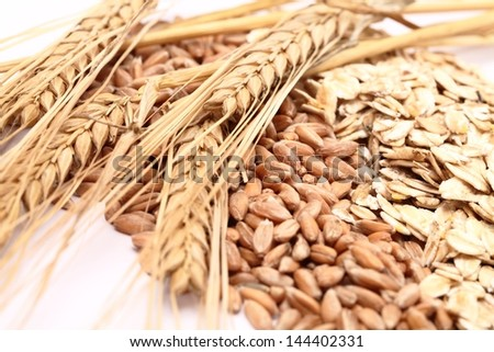 Close-up of oats and grain - stock photo