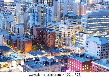 Close up of office buildings in downtown Toronto financial district at dusk