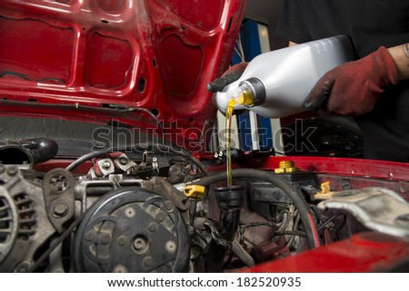 Close up of oil change - stock photo