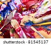 Close up of oil paint mixed on  palette. - stock photo