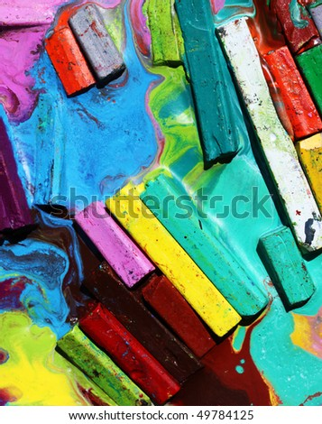 Close up of oil pastels - stock photo