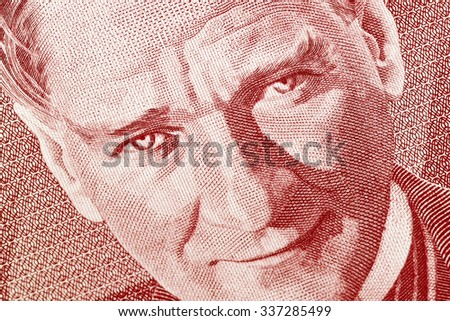 Close up of old banknote. 250,000 TL issued to honor Mustafa Kemal Ataturk who founder Turkish Republic - stock photo