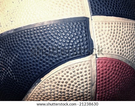 Close-up of old basketball ball - stock photo