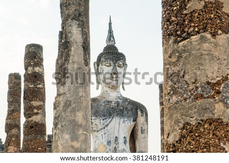 Close up of old buddha in the temple at Sukhothai Historical Park in Sukhothai Province, Thailand - stock photo