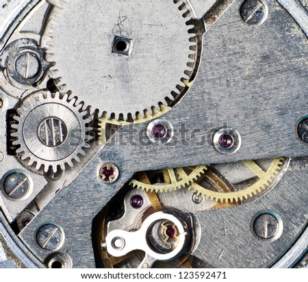 Close-up of old clock mechanism - stock photo