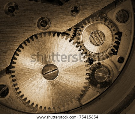 Close-up of old clock mechanism with gears - stock photo