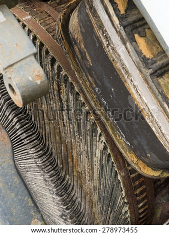 close up of old derelict industrial electrical machinery,National Tramway Museum,Crich,Derbyshire,UK. taken 11/05/2015