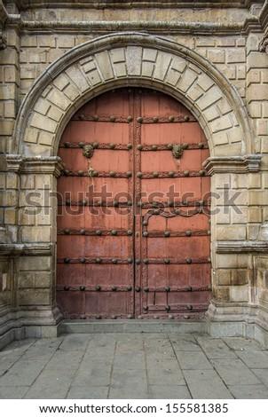 Close-up of old doors, La Paz, Bolivia - stock photo