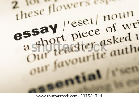 Close Up Of Old English Dictionary Page With Word Essay