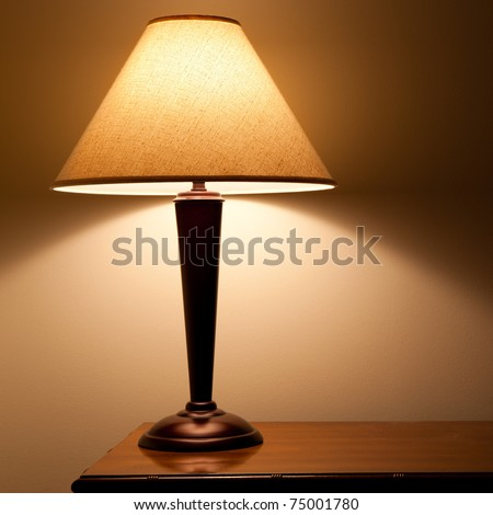close up of old fashion table lamp - stock photo