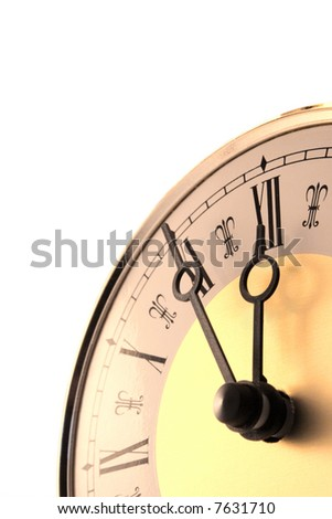 Close-up of old-fashioned pendulum clock isolated on white. Shows time 11:55 - stock photo