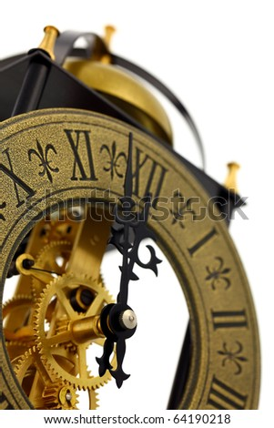 Close up of old-fashioned wall clock with visible gears, isolated on white background. Intentional shallow depth of field. Studio work. - stock photo