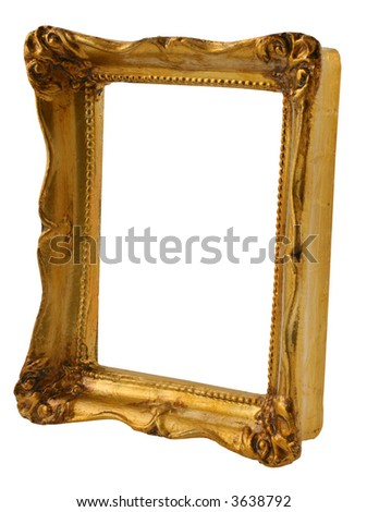 close-up of old gilded frame from perspective isolated on pure white background - stock photo