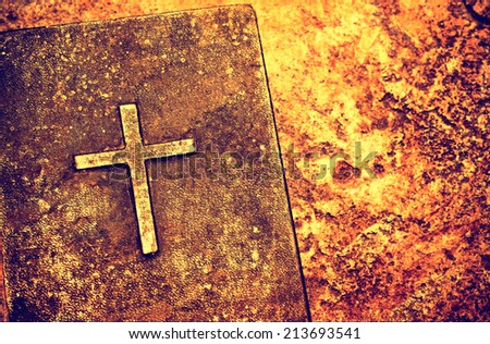 Close up of old Holy bible book - stock photo