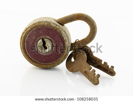 close up of old lock isolated on white background - stock photo