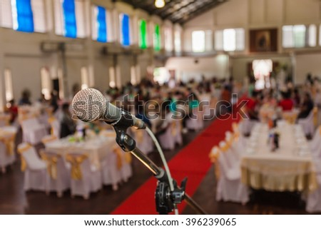 Close up of old microphone in meeting room blur background.