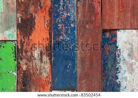 close up of old painted wood texture - stock photo