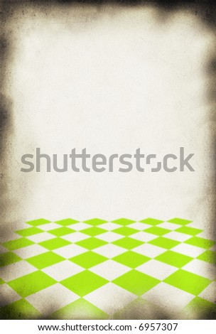 close-up of old paper background, chessboard style pattern in front - stock photo