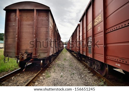Close-up of old railroad cars