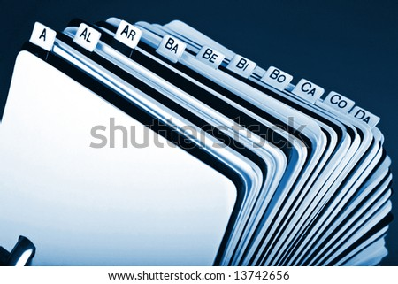 Close-up of old rotary card 7. Blue - stock photo